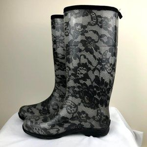 KAMIK Floral Grey Waterproof Rubber Rain Boots